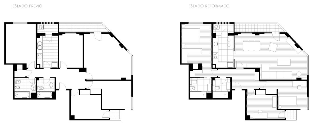 Estado previo y reformado de vivienda en Luis Badía