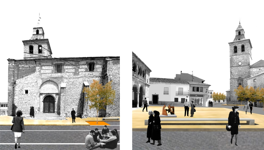 Diferentes vistas de la Plaza de El Bonillo