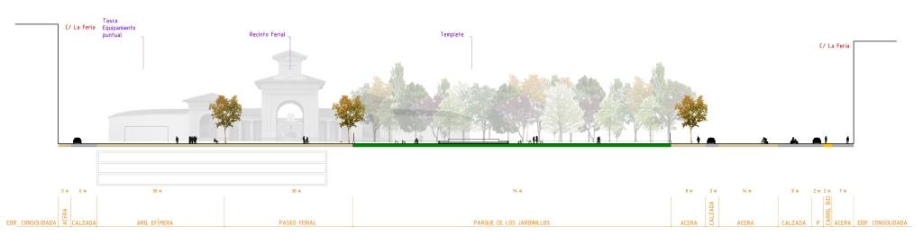 Sección de la calle a la altura de los Jardinillos. Zonificación urbana y peatonal.