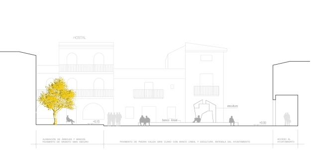 Sección transversal de la Plaza de El Bonillo